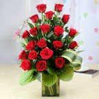 send 20 red roses in a vase delivery