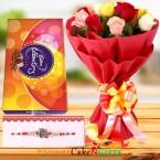 send Designer Rakhi Roses Flower Bouquet n Cadbury Celebrations Chocolate Gift delivery