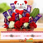 send Designer Rakhi Teddy Flower Chocolate Bouquet delivery
