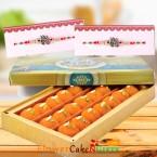 send 500gms ghee laddu sweet box and Designer Rakhi delivery