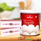 send 1kg Rasgulla and Designer Rakhi delivery