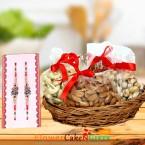 send Designer Rakhi and 1kg dry fruits gift pack delivery