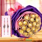 send 16 Ferrero Rocher Bouquet and Designer Rakhi delivery