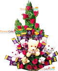 send Teddy Roses Flower n Chocolate Bouquet delivery