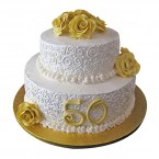 send 3kg Anniversary Fondant 2 Tier Cake delivery