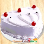 send half kg vanilla cake heart shaped delivery