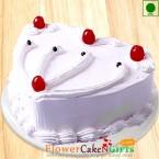 send Half kg Eggless Vanilla Cake  Heart Shaped delivery