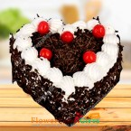send 1 Kg Rich Heart Shape Black Forest Cake delivery