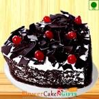 send 1Kg Heart Shape Black Forest Eggless Cake delivery