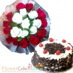send 20 red white roses bouquet n half kg black forest cake delivery