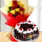 send  Yellow Red Roses Bouquet n Half Kg Black Forest Cake delivery