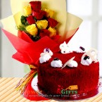send half kg red velvet cake n yellow red roses bouquet delivery