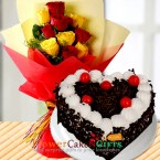 send half kg heart shape black forest cake n yellow red roses bouquet delivery