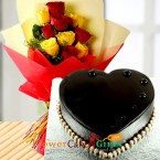 send half kg heart shape chocolate Truffle cake n yellow red roses bouquet delivery
