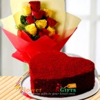 send half kg heart shape red velvet cake n yellow red roses bouquet delivery