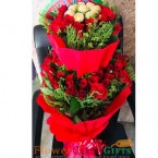 send Red Roses n Ferrero Rocher Chocolates Bouquet delivery