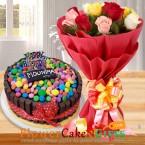 send ten mix roses half kg kitkat gems chocolate cake delivery