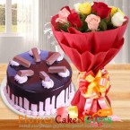 send 2kg kitkat chocolate cake and 10 mix roses delivery