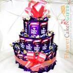 send multi layer cadbury dairy milk chocolate bouquet delivery