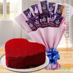 send eggless 1kg heart shaped red velvet cake n chocolate bouquet delivery