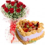 send eggless half kg heart shaped fruit cake and roses bouquet delivery