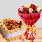 send eggless 1kg heart shaped fruit cake and roses bouquet delivery