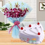 send eggless half kg heart shape vanilla cake and orchid bouquet delivery