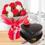 send 1kg eggless heart shape chocolate truffle cake and carnation bouquet delivery
