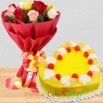send 1kg eggless heart shape pineapple cake mix roses bouquet delivery