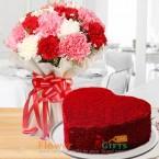 send half kg eggless heart shape red velvet cake mix carnation bouquet delivery