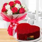 send 1kg eggless heart shape red velvet cake mix carnation bouquet delivery