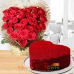 send 1kg eggless heart shaped red velvet cake heart shape roses arrangements delivery