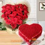send half kg eggless heart shaped red velvet cake heart shape roses arrangements delivery
