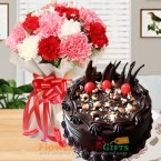 send half kg eggless dry fruit chocolate cake n carnation bouquet delivery
