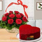 send half kg eggless heart shape red velvet cake 15 red roses basket delivery
