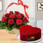 send 1kg eggless heart shape red velvet cake 15 red roses basket delivery