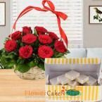 send 15 red roses basket and half kg kaju barfi sweets delivery