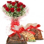 send 10 red roses and half kg dry fruit delivery