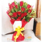 send 12 red roses paper packing bouquet delivery