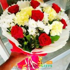 send 8 carnation 8 roses flower bouquet delivery