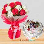 send 1 kg eggless heart shape mixed fruit cake 10 carnation flower bouquet delivery