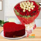 send half kg red velvet heart shape cake n roses chocolate bouquet delivery