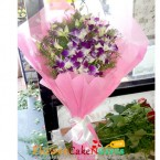 send 5 purple orchid bouquet delivery