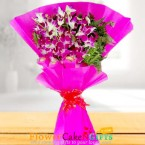 send 6 purple orchid bouquet delivery