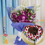 send half kg eggless black forest gems heart shape cake and orchid bouquet delivery