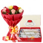 send 10 mix roses and 1 kg kaju barfi sweets delivery