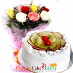 send Half Kg Mixed Fruit Cake n Roses Flower Bouquet delivery