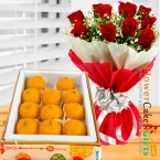 send 500 gms pure ghee laddu sweet box and red roses bouquet delivery