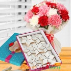 send 1kg kaju barfi sweet and mix carnation flower bouquet delivery