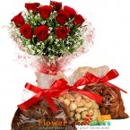 send 1kg dry fruits n roses bouquet delivery